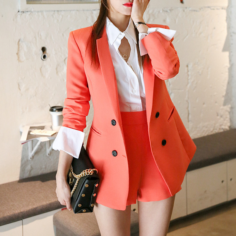 Women's Double-Breasted Short Suits