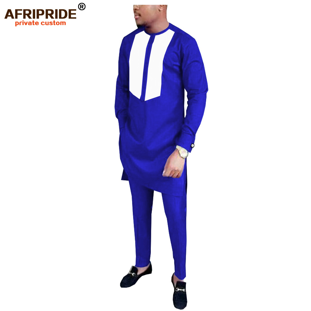 2019 African Men Traditional Clothing Set Dashiki Outfit Ankara Long Sleeve Shirt+Pants Suit Tribal Tracksuit AFRIPRIDE A1916049