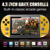 X7 Game Console 8GB Multifunctional Entertainment USB Plastic Rechargeable Dual Rocker Gifts 4.3 Inch Video Handheld Camera