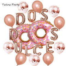 Twins Party Two Sweet Letters Foil Balloons Dos Dulces Balloon  Baby Shower 2nd Birthday Decor Kid Supplies