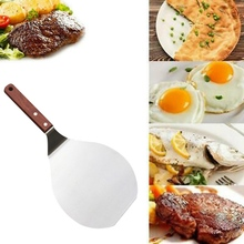 Stainless Steel Pizza Shovel Peel With Wooden Handle Pastry Tools Cake Tray Pan Pizza Paddle Spatula Kitchen Cake Baking Cutter pizza shovel pastry tools accessories pizza peel round stainless steel non stick pizza paddle spatula with oak wooden handle