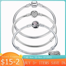 Heißer Verkauf 100% Echt 925 Silber Armband Fit Original Design Perlen Charme Armreif DIY Schmuck Machen Geschenk Für Frauen