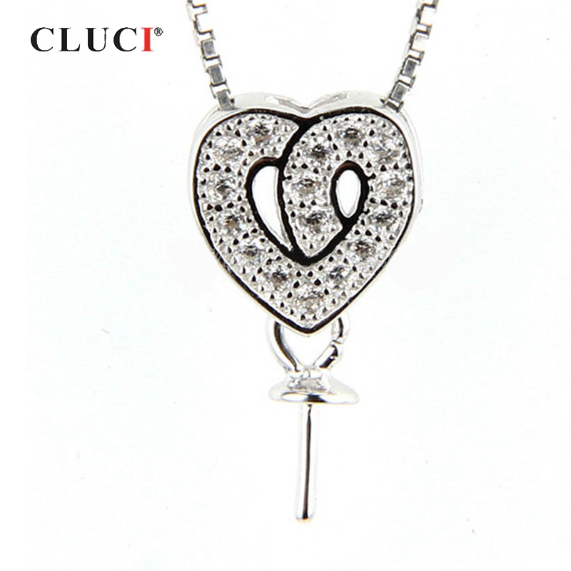 CLUCI Silver 925 Double Heart Pendant For Women Sterling Silver Pearl Pendant Mounting Zircon Charms Pendant Jewelry