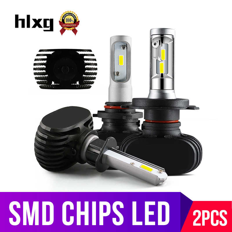 hlxg 2PCS 50W 8000lm H4 High low Car LED H7 H11 H8 HB3 9005 HB4 Headlight Bulbs Dual Beam Diodes No Fan 6000K Light Source 12V