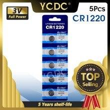 Ycdc 5 pces 3v cr 1220 cr1220 botão baterias dl1220 br1220 lm1220 pilha moeda bateria de lítio para relógio de brinquedo eletrônico calculadora