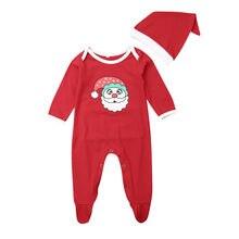 0-12 месяцев; Рождественский комбинезон для новорожденных; милый удобный комбинезон с принтом Санта-Клауса; Рождественский подарок; Одежда для младенцев