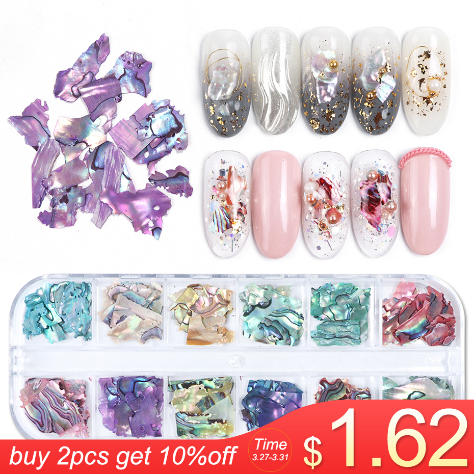 1 Box 3D Abalone Shell Irregular Nail Art Decorations UV Gel Flake Slider Nails Shimmer Pearl Jewelry Tips Manicure Polish LAB03