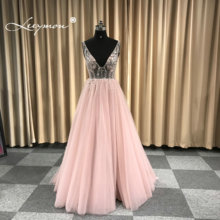 New Design Deep V Neck Tulle Evening Dress 2019 Sparkly Crystals Sexy Prom Dress Open Back Robe De Soriee Custom Made.
