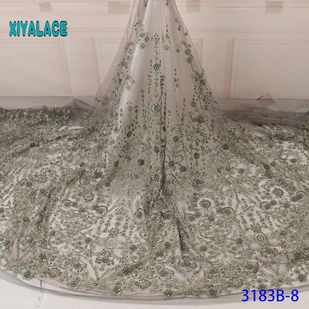 3D Handmade Laces 2020 High Quality Beaded Nigerian Lace Fabric Embroidery French Tulle Lace With Stones For Bridal YA3183B-8