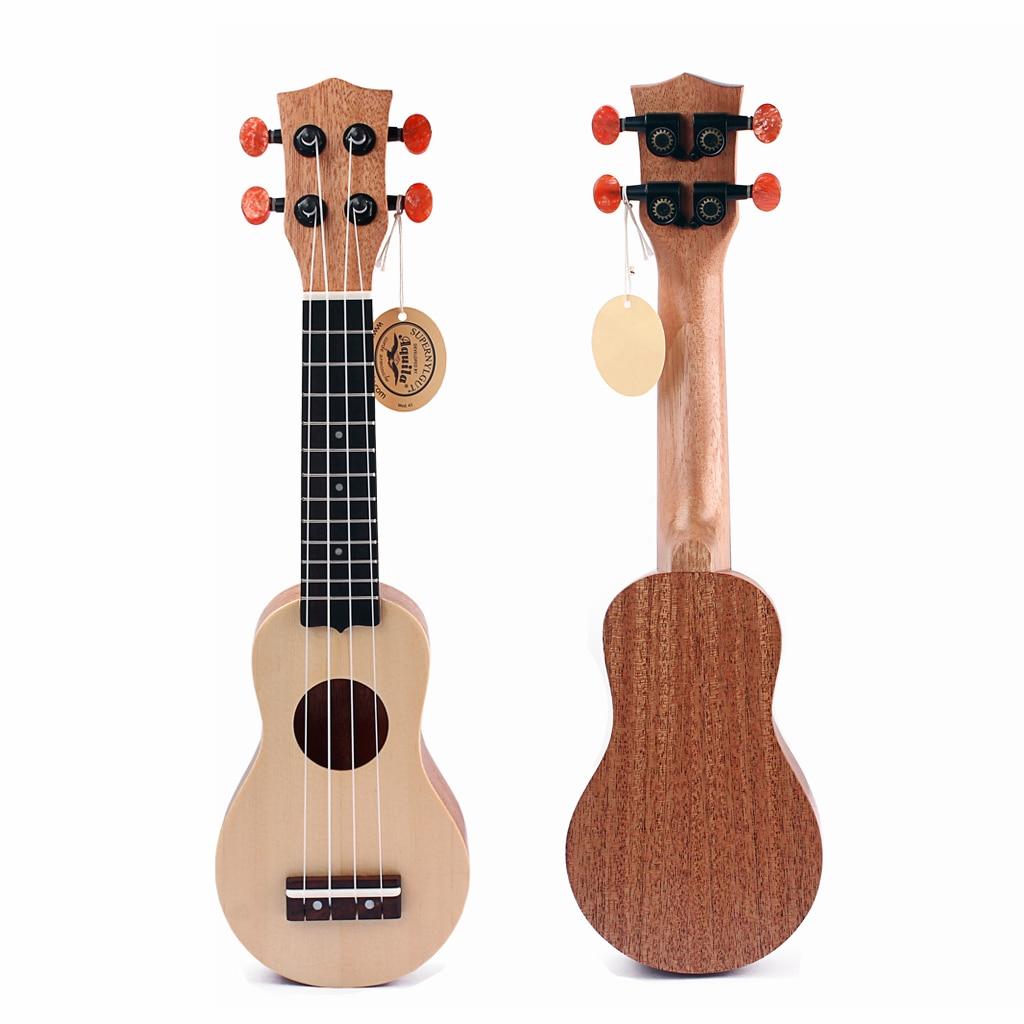 Ukulélé en bois de 17 pouces Mini Instrument de musique de guitare hawaïenne pour les amateurs de musique avec sac pour cadeau de mariage de noël d'anniversaire