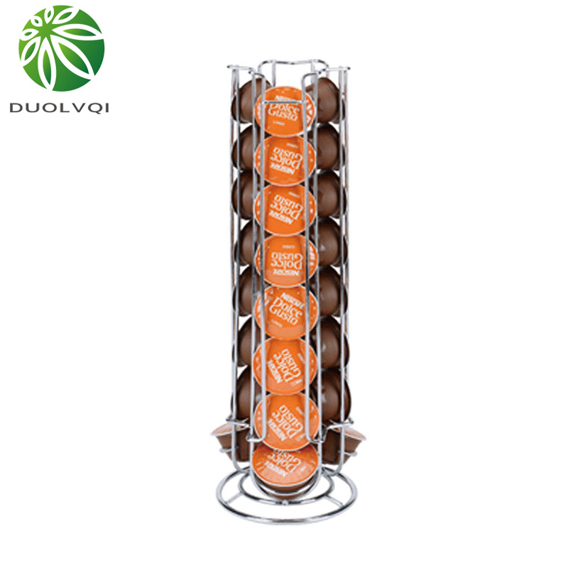 Iron Chrome Plating Display Capsule Rack Rotatable Coffee Pod Holder Stand Storage Shelves For 24pcs Dolce Gusto Capsule