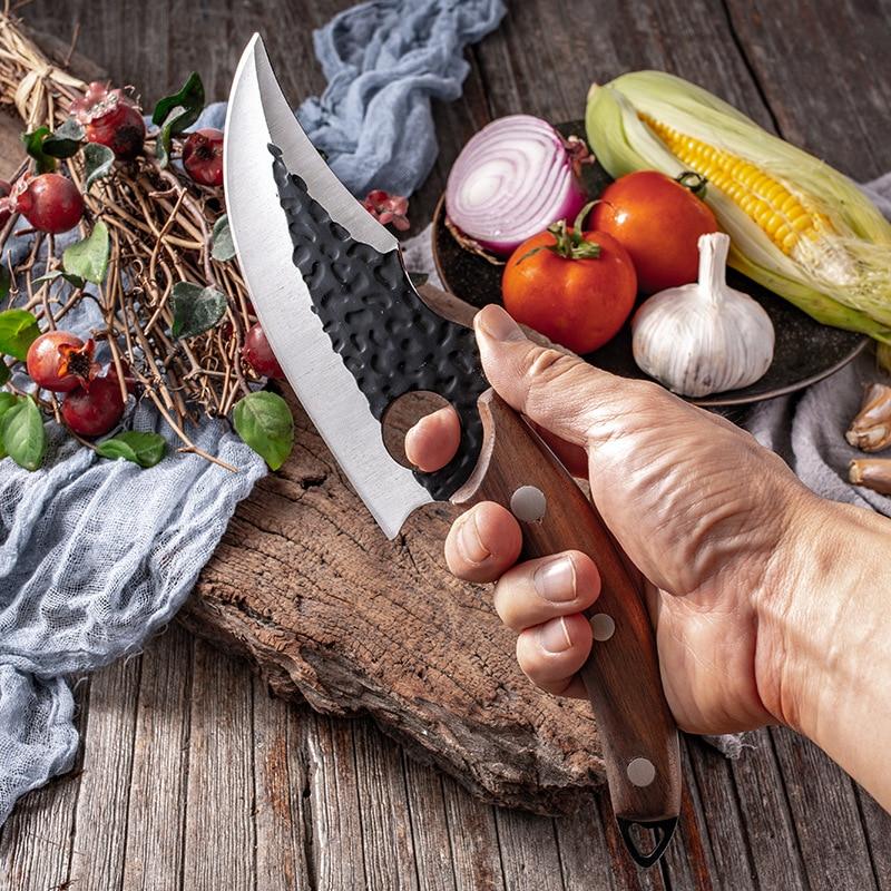 Кованый нож шеф-повара из нержавеющей стали, охотничий нож мясника, кухонный нож мясника с ножнами, нож для обвалки