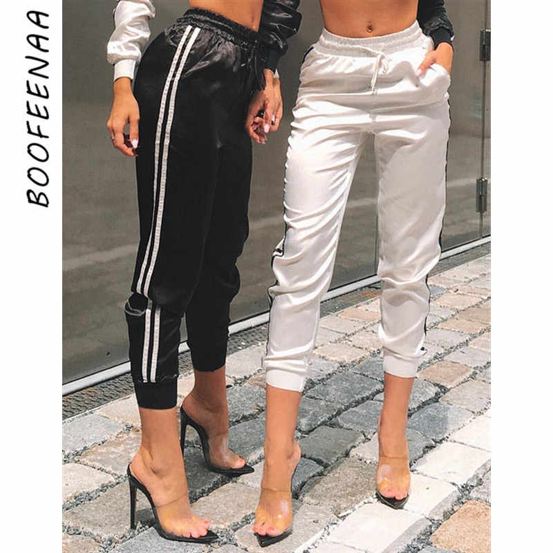 BOOFEENAA Side Stripe Satin Silk Sexy Sweat Pants Women Joggers Streetwear Fitness High Waist Casual Trousers Fashion 2020 C34AA