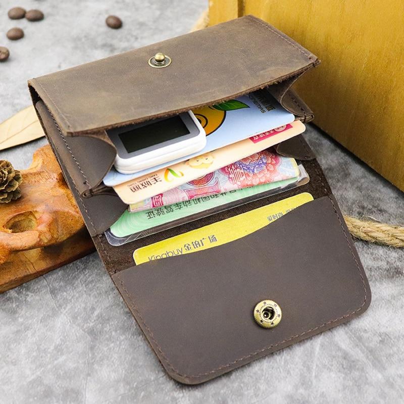 2020 New Crazy Horse Leather Card Holder Men Women Vintage Handmade Short Credit Card Bag Coin Purse Case Small Slim Wallet Male