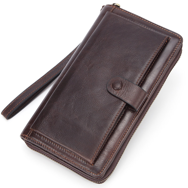 Banlosen Men Cowhide Clutch Wallets Genuine Leather Long Purses Business Large Capacity Wallet Double Zipper Phone Bag For Male
