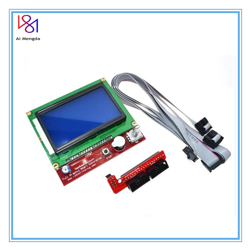 3D printer smart controller <font><b>RAMPS</b></font> 1.4 <font><b>LCD</b></font> <font><b>12864</b></font> <font><b>LCD</b></font> control panel blue screen Module For Anet A6 image