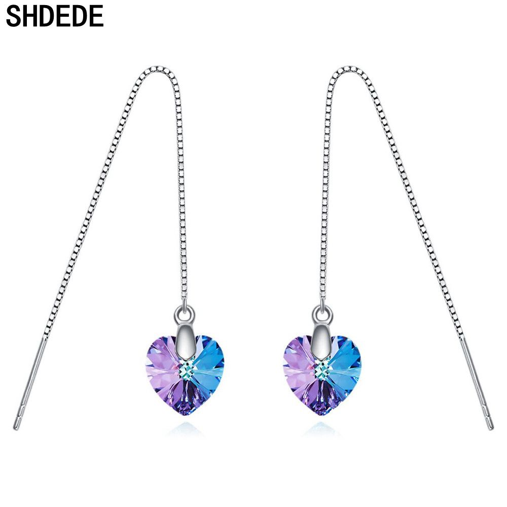 SHDEDE 925 Sterling Silver Long Chain Earrings Embellished With Crystals From Swarovski Drop Ear Jewelry Korean Heart Pendant