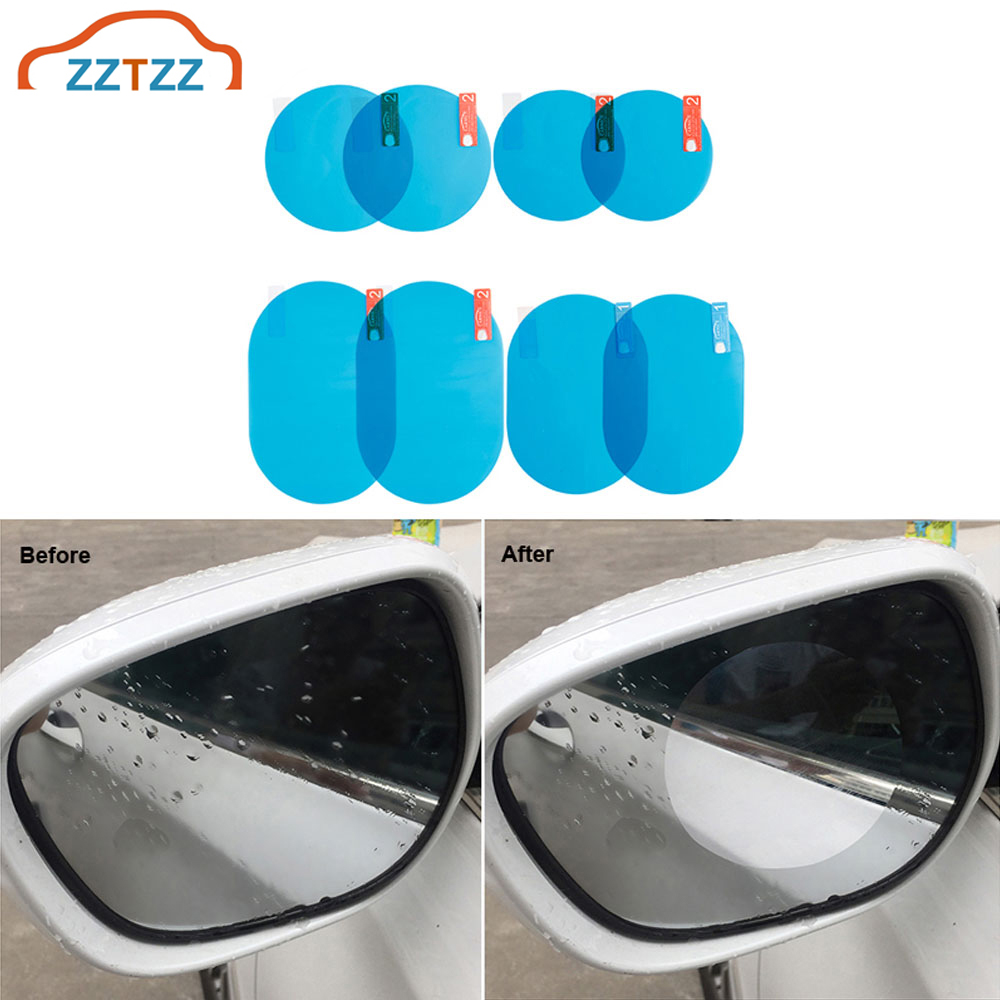 1Set Car Rearview Mirror Protective Film Anti-fog Protective Film Anti-glare Anti-scratch Rainproof (with Scraper And Alcohol Pa