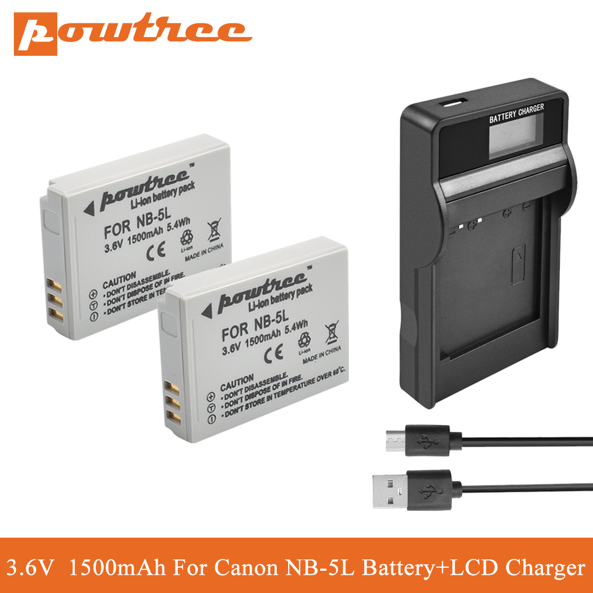 POWTREE for <font><b>canon</b></font> NB-5L NB5L NB 5L Camera <font><b>Battery</b></font>+LCD Charger For <font><b>Canon</b></font> SX220HS <font><b>SX230HS</b></font> CB-2LXE PowerShot S100 SD950 SD970 S110 image
