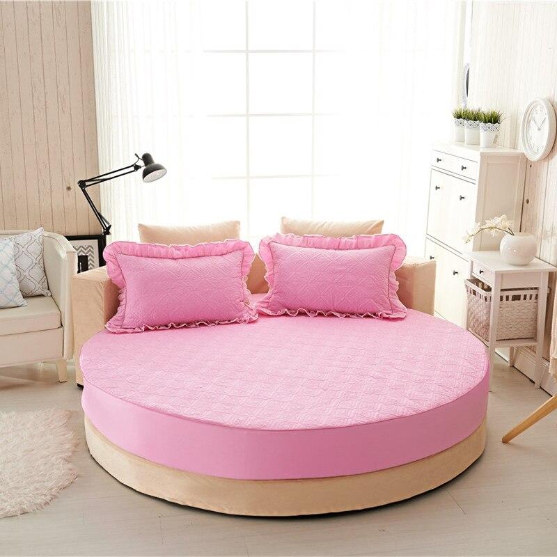 Princesa rodada folha 100% algodão acolchoado tampa de cama lençol 3 pçs/set círculo elástico rei, super king size engrossar algodão pad - 4