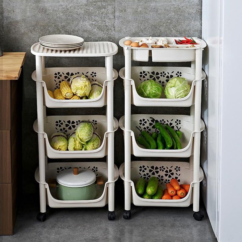 4 Layers Kitchen Shelf Vegetable Rack Floor Multi-layer Dish Rack Storage Supplies Vegetable Toy Storage Rack Basket With Wheels