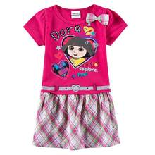Children Clothes New Summer Stripes Short Sleeve Cartoon Horse Girls Dresses Baby Girls Princess Party Cotton Dress for Kids(China)