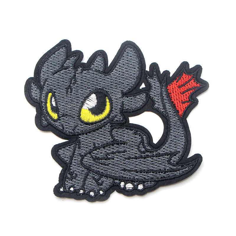 Hoe ik train your dragon tandeloze Cartoon Applique DIY Accessorries Ijzer op Flarden Kleding Rugzak Voor Kids Decoraties E0579