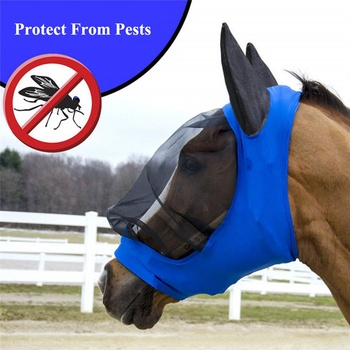 NEW Pet Supplies Horse Detachable Mesh Mask With Nasal Cover Horse Fly Mask Horse Full Face Mask Anti-mosquito Nose With Zipper
