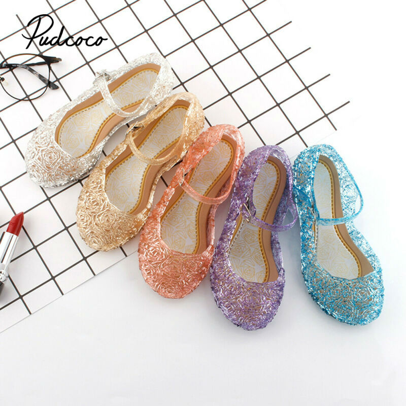 Brand 2020 new fashion baby girls kids summer crystal sandals princess toddler cute fancy crystal jelly flat-heeled shoes