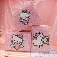 Rhinestone Kitty Cat Jewerly Box with Lock 2 layer Pink Bling Earring Bead Storage Containers Helloo Kitty Treasure Box Handmade