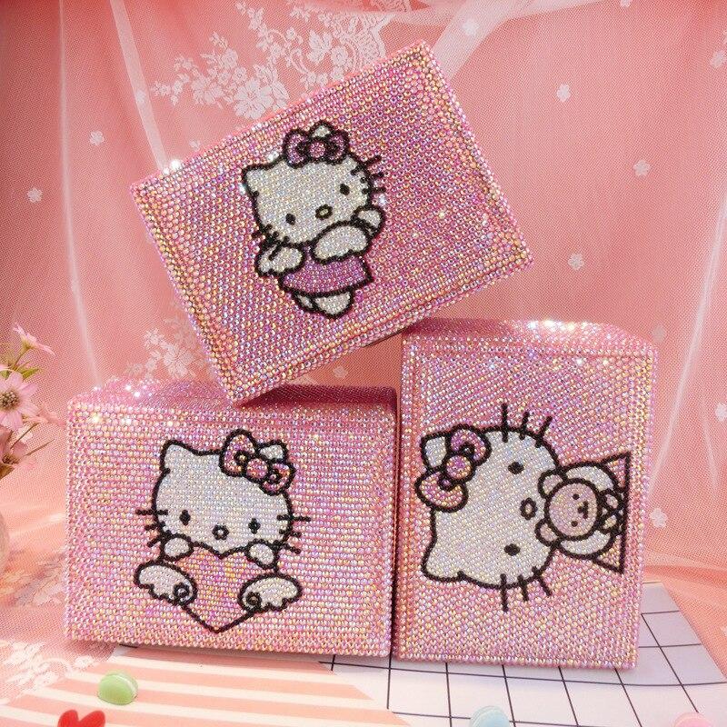 Strass Kitty chat boîte à bijoux avec serrure 2 couches rose Bling boucle d'oreille perle conteneurs de stockage Helloo Kitty boîte au trésor à la main