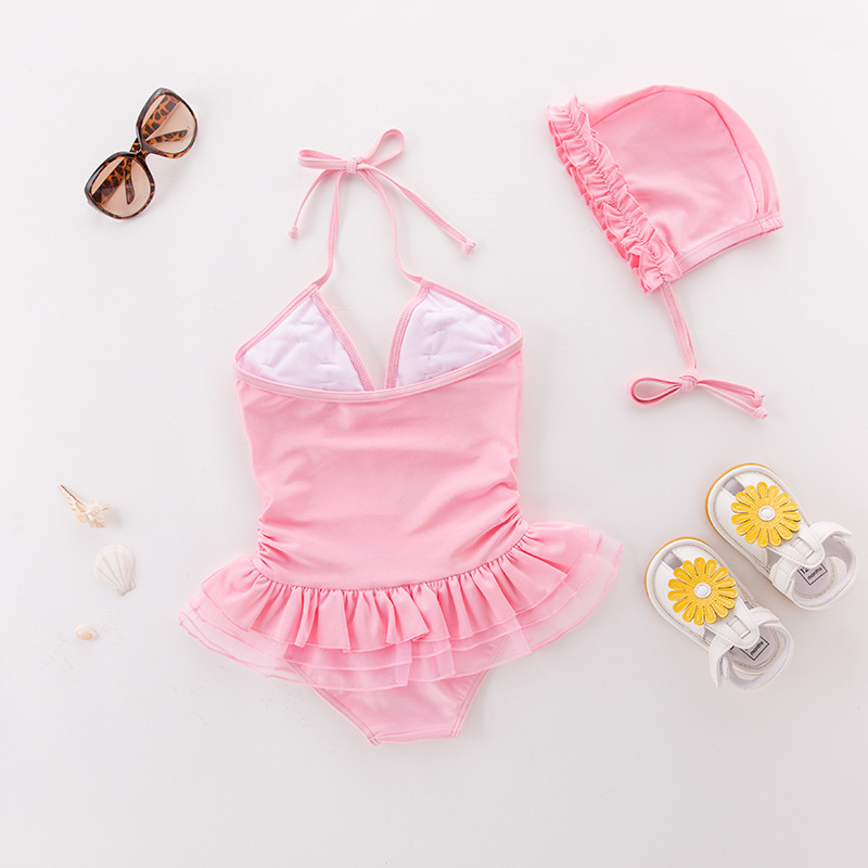 Girl'S One-piece Swimming Suit Shimmering Powder Flower One-piece Small English Hooded-Children Hot Springs Bathing Suit