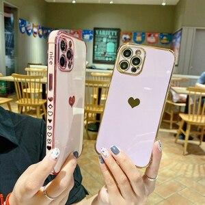 Image 3 - حافظة لهاتف آيفون 12 برو ماكس 11 X XS XR XSMAX SE2020 8 8Plus 7 7Plus غطاء سيليكون على شكل قلب الحب