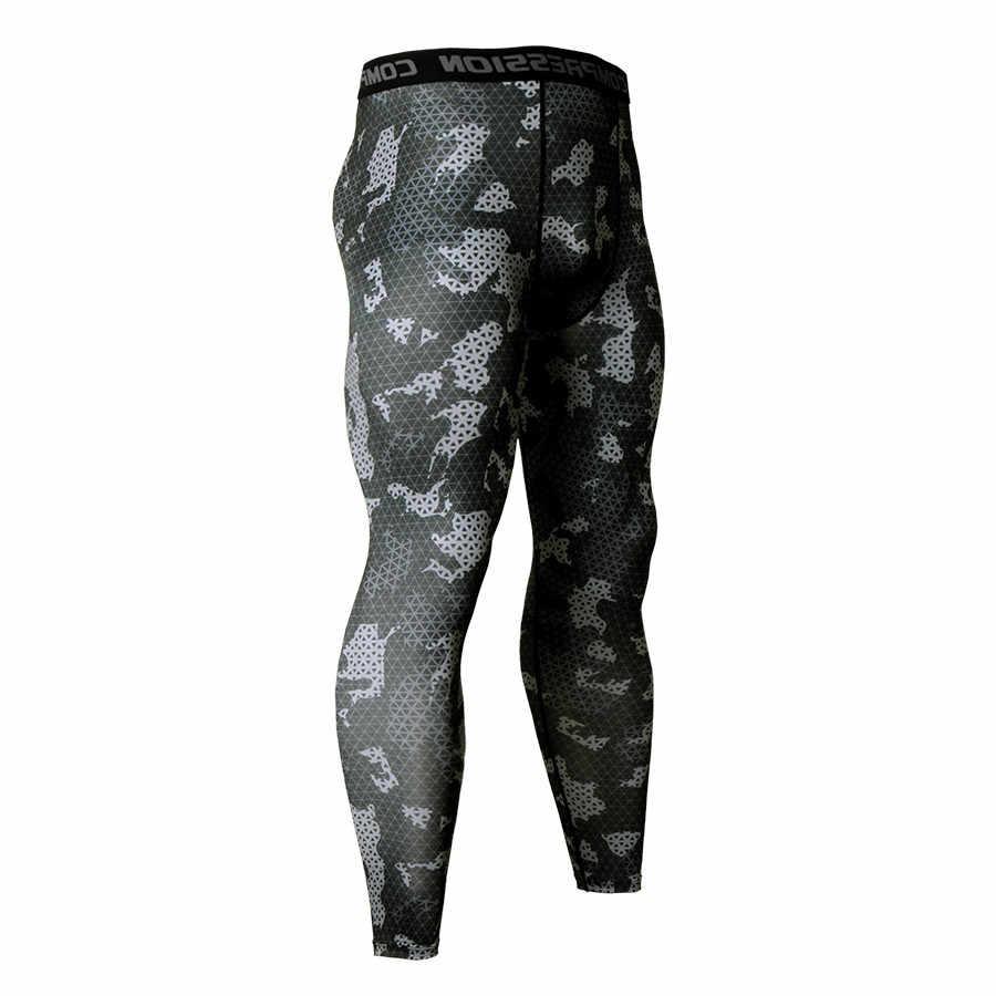 Calças de compressão de camuflagem correndo calças de treinamento de futebol dos homens leggings de esportes de fitness ginásio de jogging calças esportivas