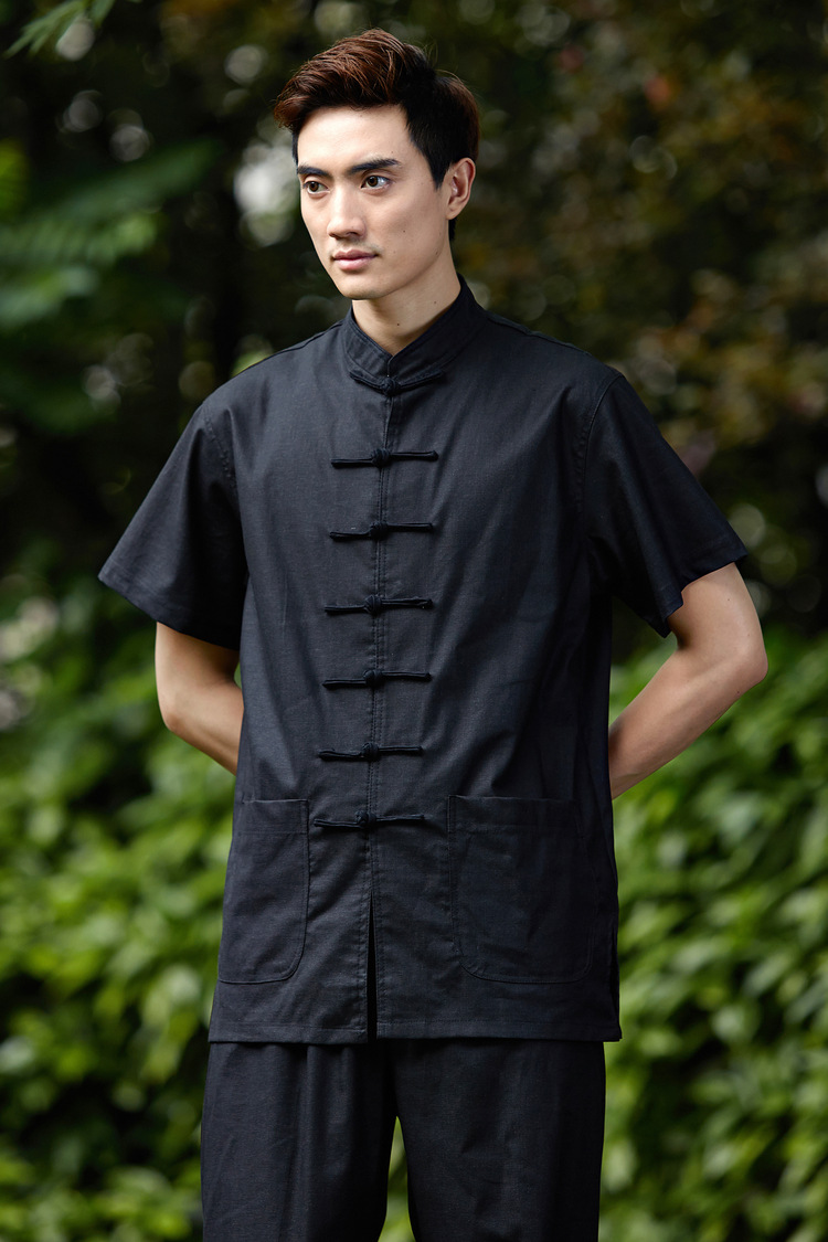 Chinese-style Chinese Style Hemp Cotton Coarse Cloth Chinese Costume Men 2525-3 Short-sleeved Top Half Sleeve Shirt/Set
