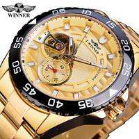 Vencedor de aço inoxidável dourado 2020 design metade esqueleto aberto trabalho homem negócios mechnaical relógio de pulso automático topo marca luxo