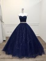 Robe De Mariage Princess Bling Bling Luxury Navy blue Ball Gown evening Dress 2020 Plus Size Custom Made Vestido De Noiva