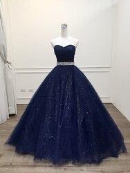Robe De Mariage Princess Bling lujo azul marino Vestido De fiesta Vestido De noche 2020 De talla grande por encargo Vestido De Noiva