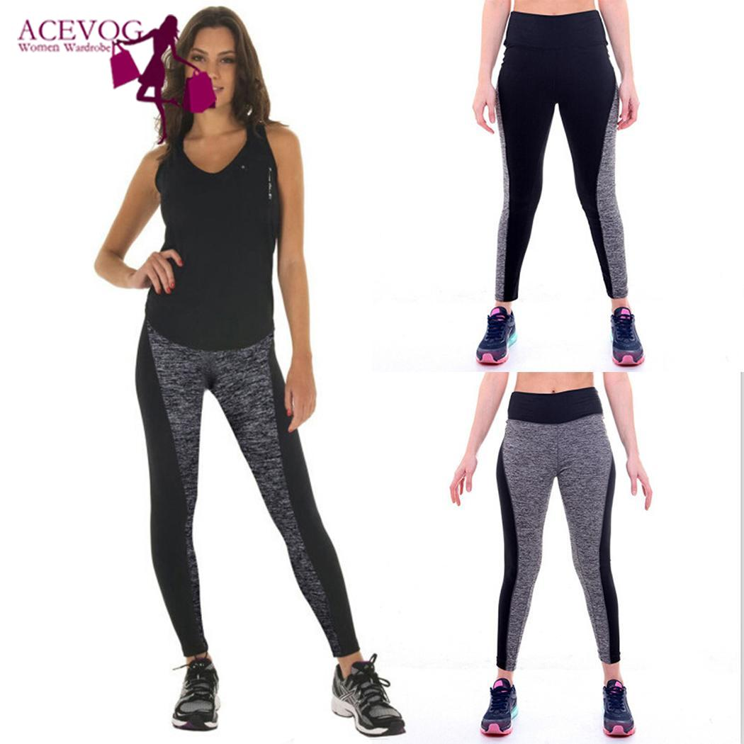 New Fashion Women Yoga Fitness Running Gym Casual Stretch Sports All seasons Pants Patchwork Trousers Leggings