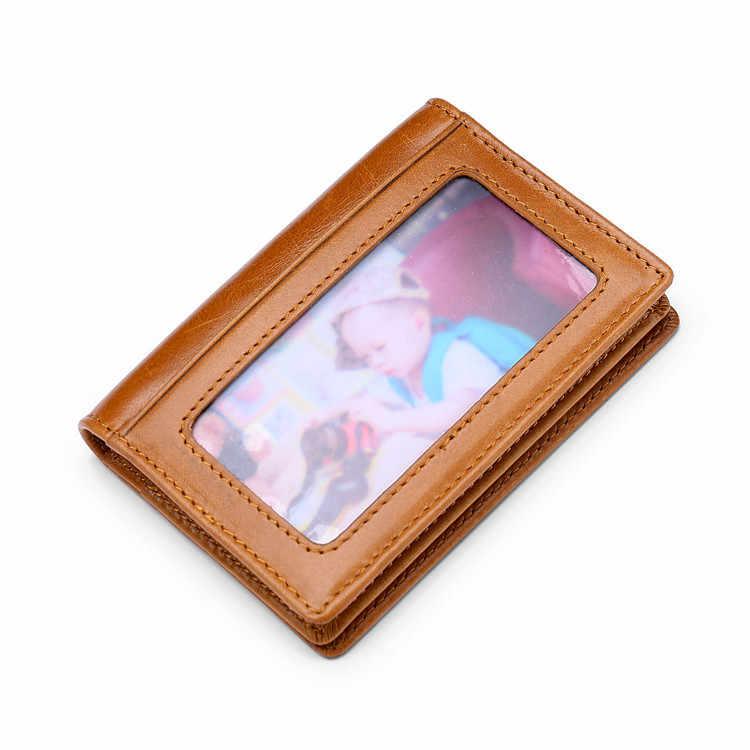 Tarjetero para mujer 2020 nuevo Vintage de cuero genuino tarjetero de identificación Multi-posición tarjeta Clip con ranuras para tarjetas transparentes