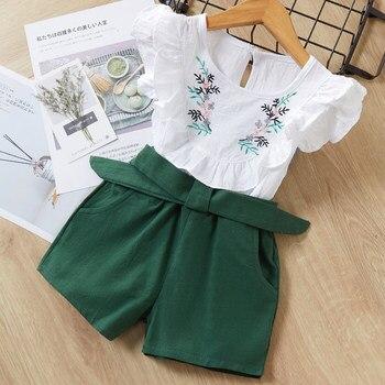 Melario print Kids Girls Clothing Sets Dot Summer Baby Girls Clothes Sleeveless T-Shirt Shorts Suit 2Pcs Children Clothes Suits 3