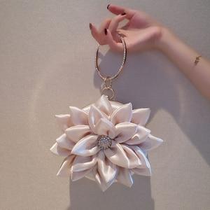 Image 3 - Fairy Style Evening Mini Bag Lotus Flower 2020 Luxury Lady Rhinestone Ring Handbag Women Girl Shoulder Party Wedding Banquet
