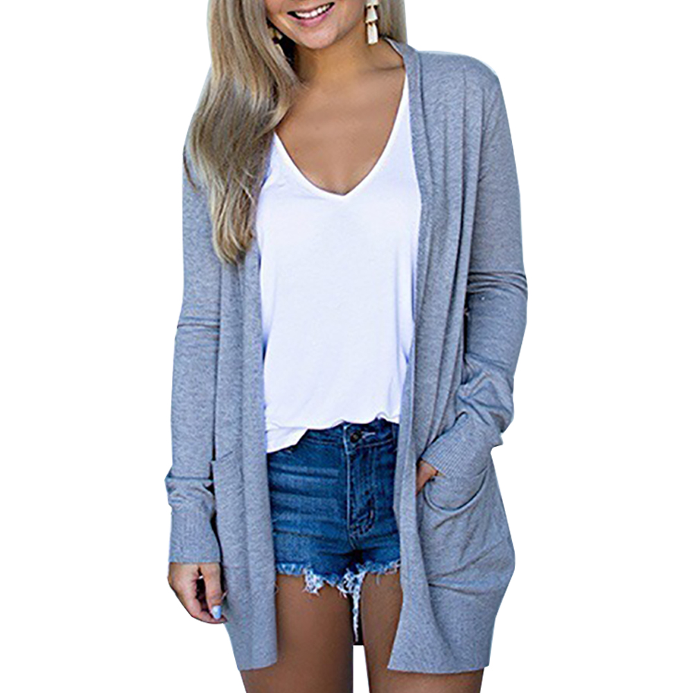 Solid Women's Cardigans Long Sleeve Loose Mid Length Knittwear Casual Sweater Cardigan  Thin Knitted Coat Cardigan Women's 4