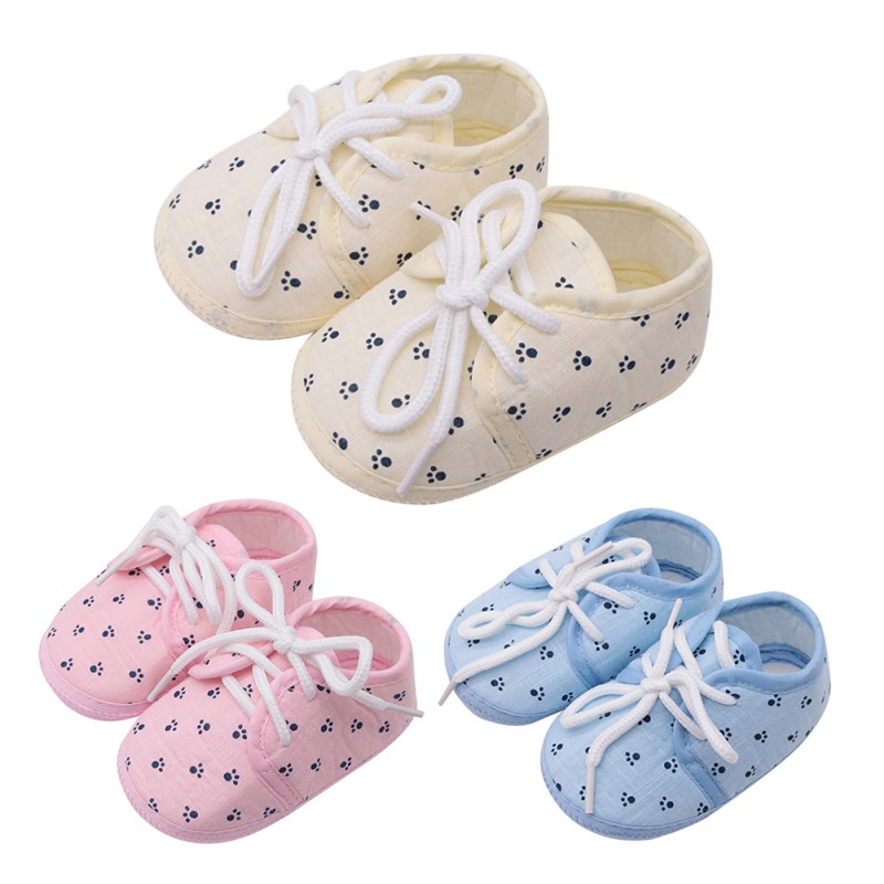Cute Toddler Baby Girl Footprint Printing Lace Up Crib Shoes Casual Non-slip Baby Shoes 0-18M Lovely Newborn Gifts