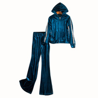 Casual Two Piece Set Sweatsuit Long Sleeve Tops and Long Pants Velvet Women Hoodies Tracksuit S XL
