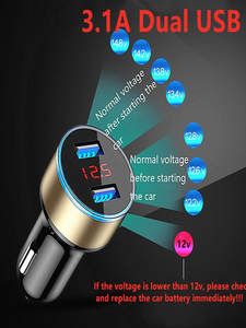 Car-Charger Cigarette-Socket Lcd-Display Mobile-Phone 2-Ports Xiaomi Samsung for 1PC