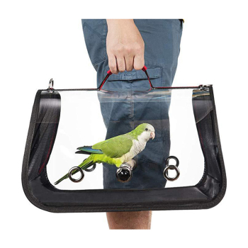 1KG Portable Bird Cage Macaw Bag with Wooden Standing Stick Foldable Breathable Bird Bag Two-way Ventilation Parrot Cage