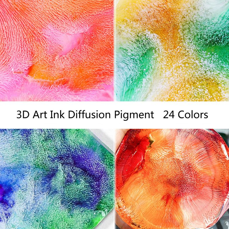24Color 10ML Alcohol Ink Diffusion Resin Pigment Kit Liquid Colorant Dye Art DIY Handmade Craft Jewelry Making