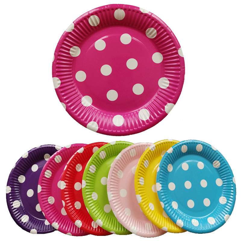 10pcs Lovely Polka Dots Party Tableware Red Yellow Blue Dot Disposable Paper Cup Plate Napkin Straw Party Decoration Supplies