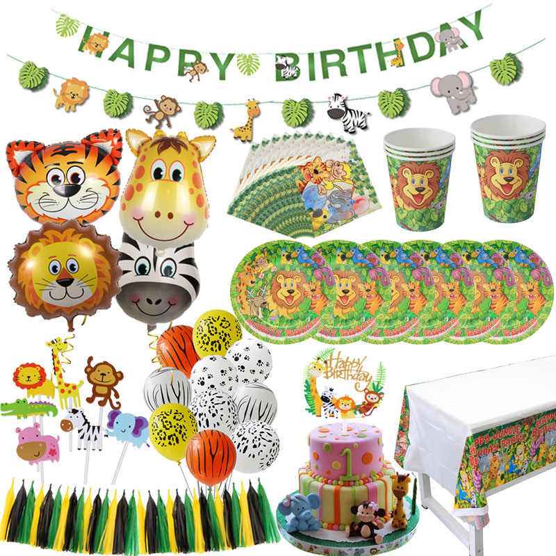 WEIGAO Jungle PARTY ตกแต่ง Lion Tiger Foil บอลลูน Disposable Tableware กระดาษถ้วยผ้าเช็ดปาก Safari ZOO PARTY Supplies